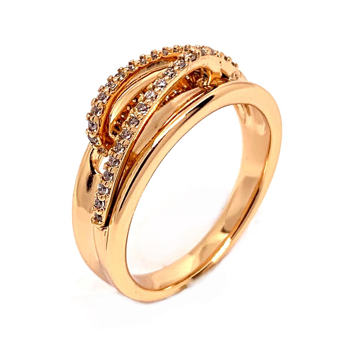Кольцо Xuping из медицинского золота, белые фианиты, позолота 18K, 11994