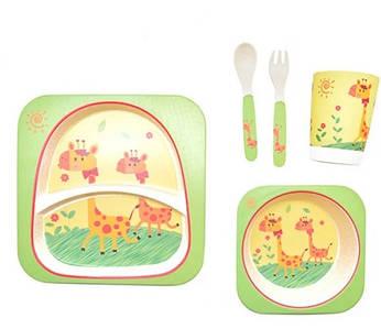 Набор детской бамбуковой посуды Stenson MH-2770-16 5 предметов, жираф