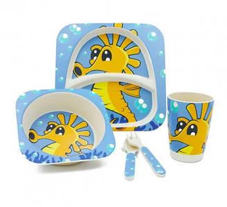 Набор детской бамбуковой посуды Stenson MH-2770-18 5 предметов, морской конь