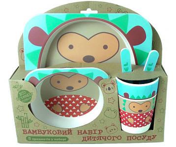 Набор детской бамбуковой посуды Stenson MH-2770-21 5 предметов, ежик