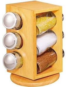 Набор баночек для специй Stenson Woody MS-0369 на подставке 6 емкостей