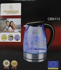 Стеклянный электрический чайник Crownberg CB 9113 1,7л