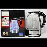 Стеклянный электрический чайник Crownberg CB 9113 1,7л, фото 2