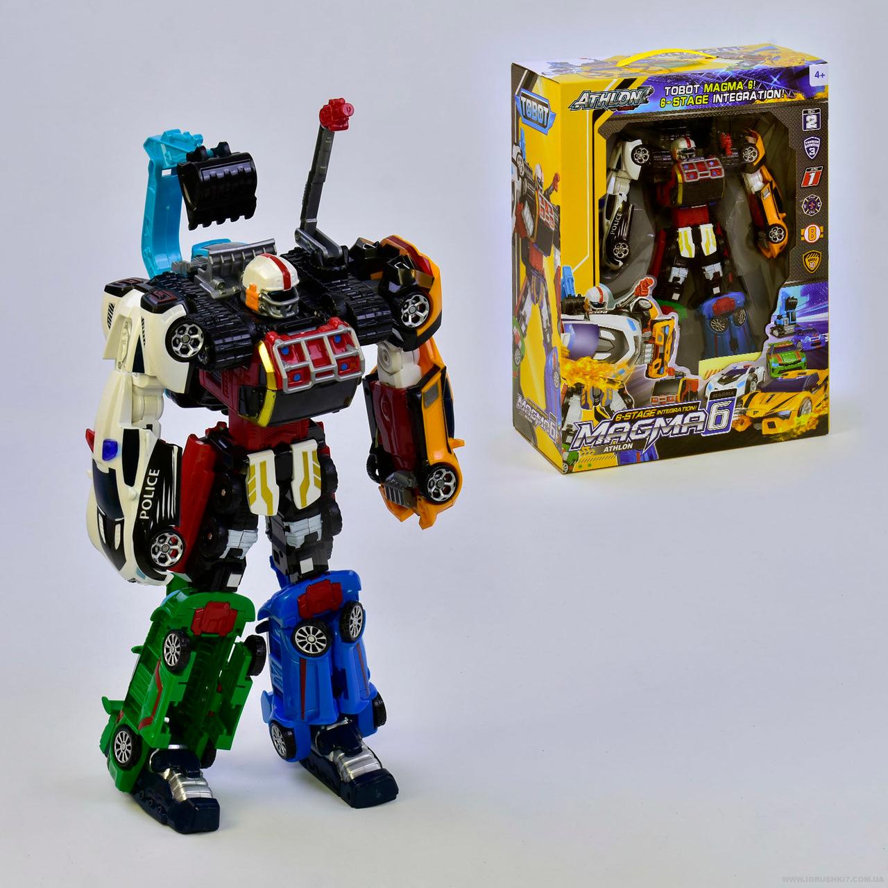 Робот-трансформер 523, 6 машинок, в коробке