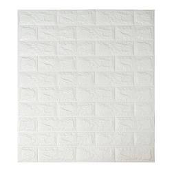 Самоклеящаяся декоративная панель с 3D текстурой под кирпич, Белый, 700x770x7мм