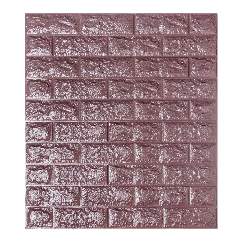 Самоклеящаяся декоративная панель с 3D текстурой под кирпич, Баклажан-кофе, 700х770х5мм