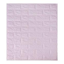 Самоклеящаяся декоративная панель с 3D текстурой под кирпич, Светло-фиолетовый, 700x770x7мм