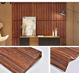Декоративная 3D панель самоклейка под красное дерево 700x770x5мм