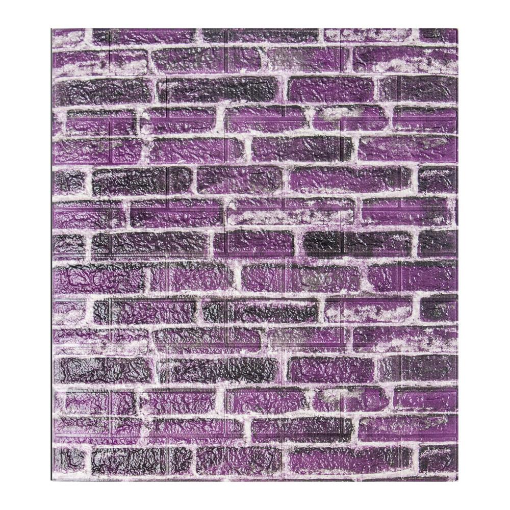 Самоклеящаяся декоративная панель с 3D текстурой под кирпич, Фиолетовый Екатеринославский, 700x770x5мм