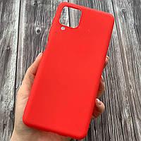 Чехол для Samsung Galaxy A12 тонкий однотонный плотный накладка чехол на самсунг а12 красный