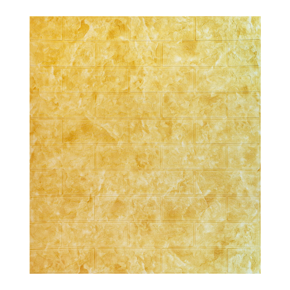 Самоклеящаяся декоративная панель с 3D текстурой под кирпич, Оранжевый мрамор, 700x770x5мм