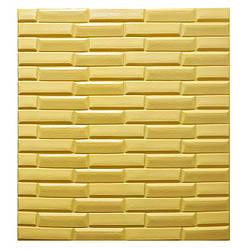 Самоклеящаяся декоративная панель с 3D текстурой под тонкий кирпич, Золотой, 770х700х7 мм