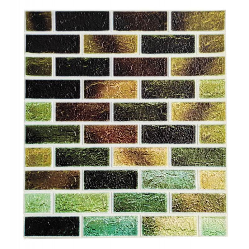 Самоклеящаяся декоративная панель с 3D текстурой под кирпич, Зеленый микс, 700x770x4мм