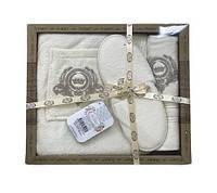 Мужской комплект для бани purry (юбка, полотенце 50*90, тапочки) кремовый #S/H