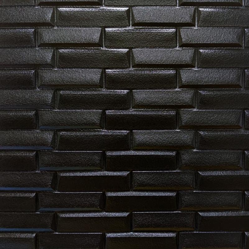 Самоклеящаяся декоративная панель с 3D текстурой под тонкий кирпич, Черный, 700х770х7мм