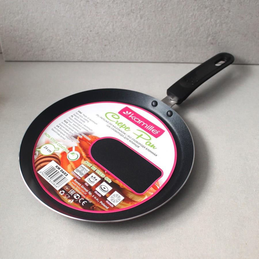 Сковорода блинная Kamille 24 см с антипригарным покрытием для индукции