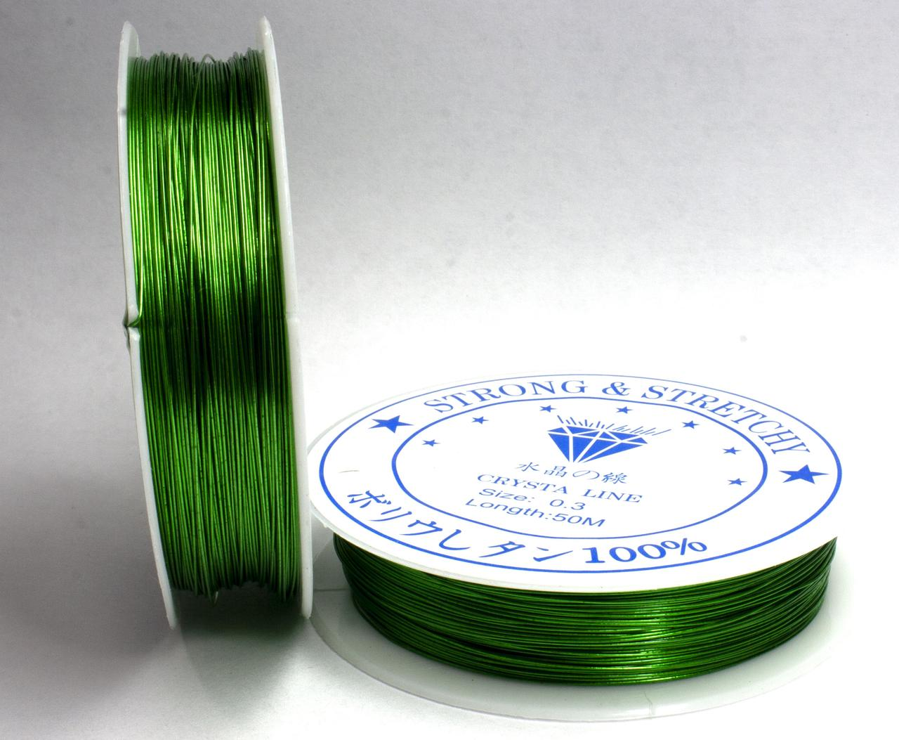 Дріт 0,3 мм Намотування 50 ярдів(46 метрів), колір - зелений