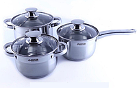 Набор кухонных кастрюль из нержавеющей стали Benson BN-244 7 предметов