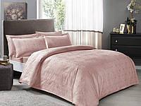 Комплект постельного белья tac жаккард nodus pudra евро пудра #S/H, фото 1
