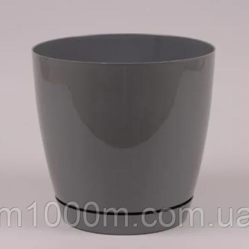 Горщик пластиковий круглий Тоскана 13см, 1.6 л