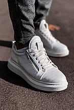 Мужские кроссовки белые кожаные