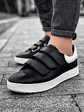 Мужские кроссовки черные с белой подошвой кожаные