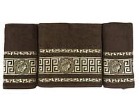 Набір махрових рушників gold soft life версаче 50*90(2) і 70*140 коричневий #S/H