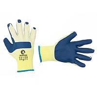 Рукавички робочі скляра ( муляра ) сині трикотажні з латексним покриттям INTERTOOL SP-0003