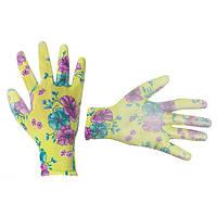 """Садові рукавички з поліуретановим покриттям 8"""" зелені INTERTOOL SP-0161"""