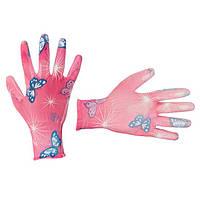 """Садові рукавички з поліуретановим покриттям 8"""" рожеві INTERTOOL SP-0162"""