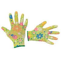 """Садові рукавички з нітриловим покриттям 8"""" зелені INTERTOOL SP-0163"""