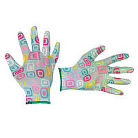 """Садові рукавички з нітриловим покриттям 8"""" блакитні INTERTOOL SP-0164"""