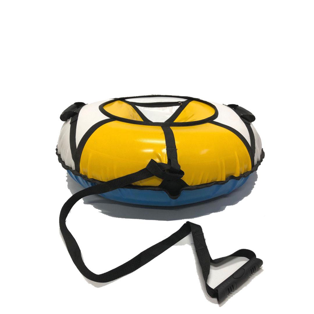 Тюбинг надувные санки ватрушка d 120 см серия Стандарт Бело - Оранжевого цвета для детей и взрослых