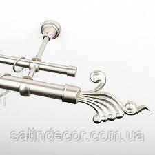 Карниз для штор металевий ВЕНУС подвійний 25+19 мм 1.8м Сатин нікель
