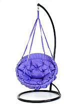 Подвесное кресло гамак для дома и сада с большой круглой подушкой 96 х 120 см до 120 кг сиреневого цвета