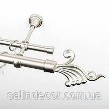 Карниз для штор металевий ВЕНУС подвійний 26+19 мм 2.4 м Сатин нікель