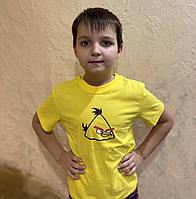 Футболка детская желтая качественная , злые птички детская футболка, Angry Birds футболка детская
