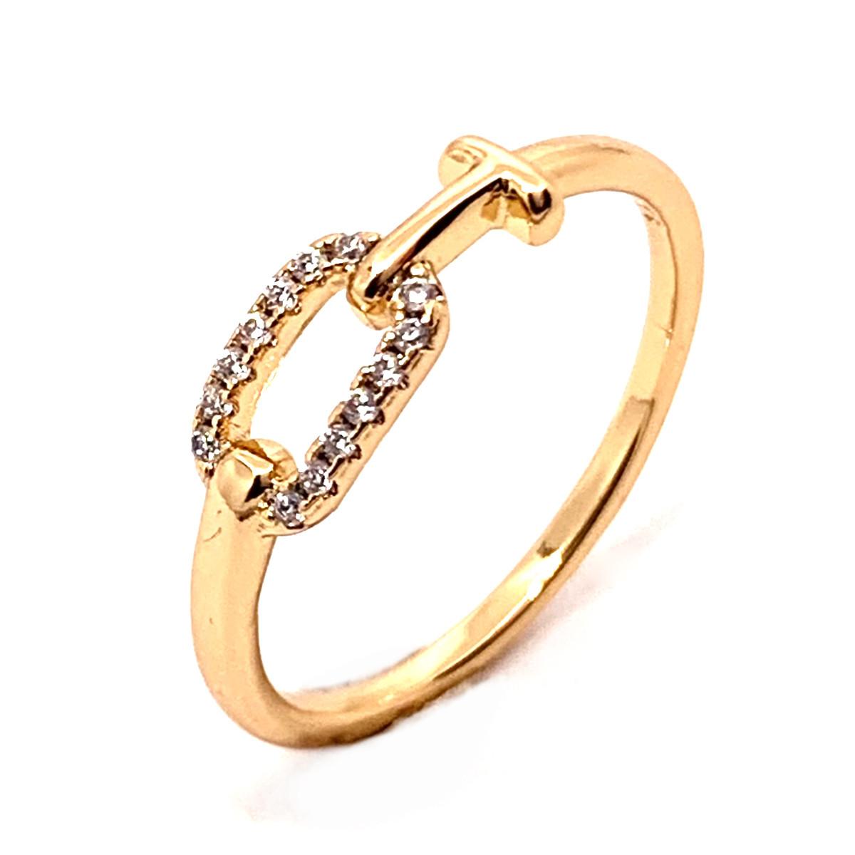 Кільце Xuping з медичного золота, білі фіаніти, позолота 18K, 11997