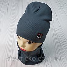 """М 93505.Комплект  для [хлопчика  подвійний шапка """"М"""" + шарф, 2-8 лет, разные цвета"""