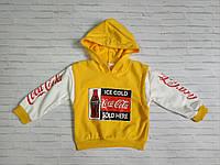 Батник детский для мальчика на манжете с капюшоном Coca Cola 2-6 лет, цвет уточняйте при заказе, фото 1