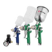 Набір з 3-х краскопультів HVLP, 0,8 мм, 1,3 мм, 1,7 мм, регулятор тиску, два пластикових і один металевий