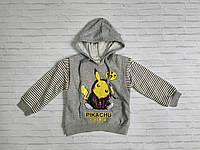 Батник дитячий для хлопчика на манжеті з капюшоном Pikachu 2-6 років, колір уточнюйте при замовленні, фото 1