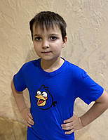 Детская футболка синяя Angry Birds , футболка злые птички мальчикам и девочкам