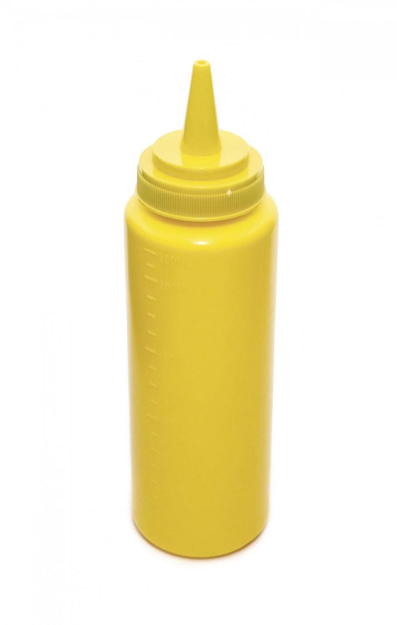 Бутылка для соусов с мерной шкалой 240 мл. желтая