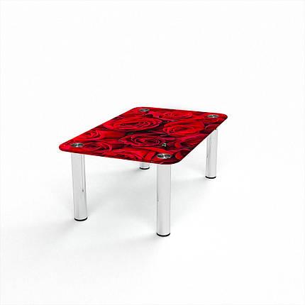 Стеклянный  стол журнальный столик из стекла БЦ Стол Прямоугольный с фотопечатью Rose, фото 2