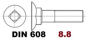03.01 8.8 DIN 608 (Болт с потайной головкой и квадратным подголовником)