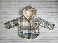 Сорочка тепла дитяча для хлопчика з капюшоном в клітку 2-6 років, колір уточнюйте при замовленні, фото 1