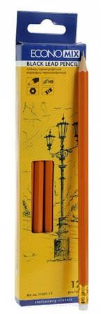 Карандаш чернографитные ECONOMIX НВ корпус оранжевый, заостренный с резинкой(E11301-12)