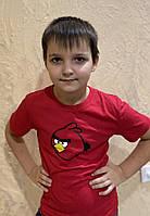 Красная футболка детская Angry Birds, футболка злые птички детская