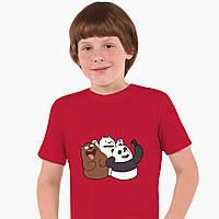 Детская футболка для мальчиков Вся правда о медведях (We Bare Bears) (25186-2665-RD) Красный, фото 1